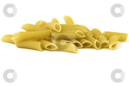 Penne pasta stock photo, Pile of penne pasta, isolated on white by Arek Rainczuk