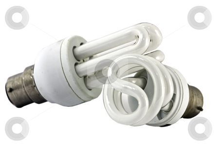 Two eco bulbs stock photo, Two energy saving bulbs, isolated on whte, with clipping path by Arek Rainczuk