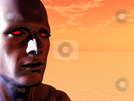 Techno head stock photo, Surreal head of a man with red eyes - 3d illustration by J?