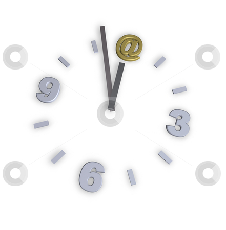 Mail stock photo, Clock with email alias - 3d illustration by J?
