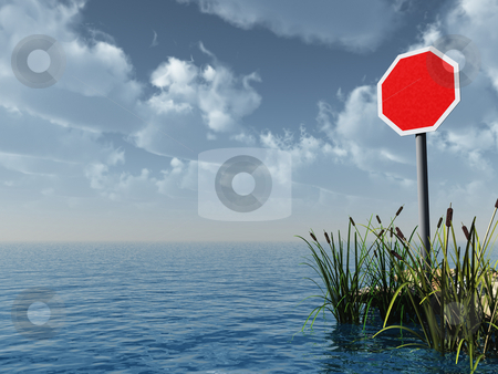 Blank stop sign stock photo, Water landscape with blank stop sign - 3d illustration by J?