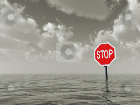 Stop stock photo, Stop sign at water landscape - 3d illustration by J?