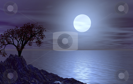 Luna stock photo, Water landscape with tree at night  - 3d illustration by J?