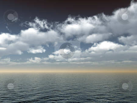 Sea stock photo, Water landscape with cloudy sky - 3d illustration by J?