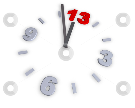 Number 13 stock photo, Clock with number 13 - 3d illustration by J?