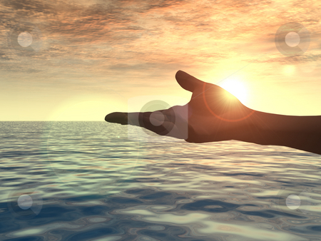 Hand stock photo, Open hand in the sunset - 3d illustration by J?