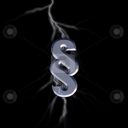 Law stock photo, Paragraph symbol and lightning on black background - 3d illustration by J?