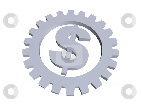 Dollar stock photo, Dollar sign and gear wheel -3d illustration by J?