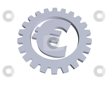 Euro stock photo, Euro sign and gear wheel -3d illustration by J?