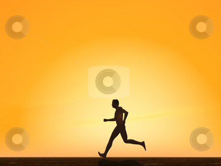 Run stock photo, Runner in the sunset - 3d illustration by J?