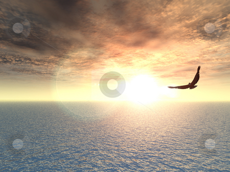 Eagle stock photo, Eagle flying over water - 3d illustration by J?