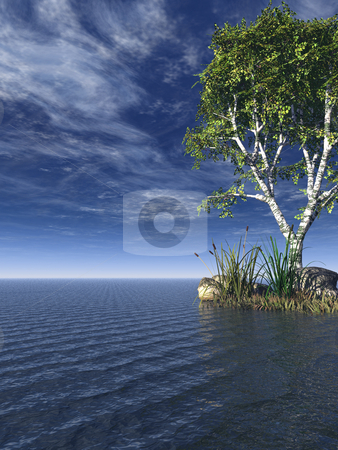 Tree stock photo, Water landscape with tree  - 3d illustration by J?