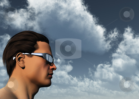 Sun glasses stock photo, Man with sun glasses - 3d illustration by J?