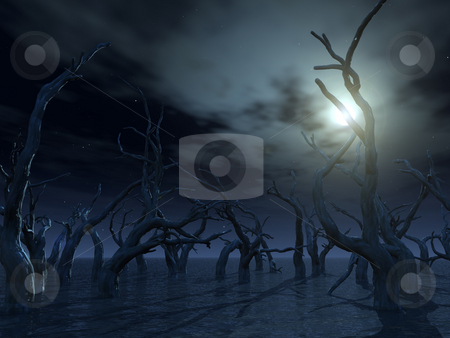 Dead trees stock photo, Dead trees at a dark water landscape - 3d illustration by J?