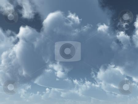 Fluffy stock photo, Clouds on the blu sky - 3d illustration by J?