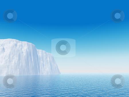 Ice stock photo, Iceberg against blue sky - 3d illustration by J?