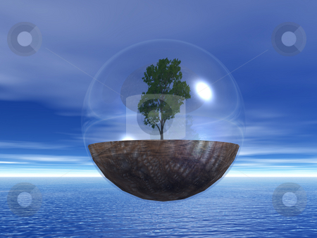 The last tree stock photo, Tree in a bubble fly ove the ocean - 3d illustration by J?