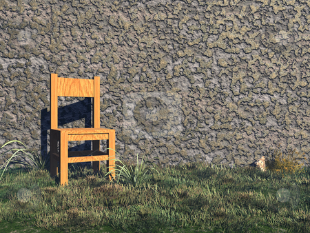 Waiting stock photo, A chair stands before a wall - 3d illustration by J?