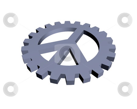 Peace stock photo, Peace symbol in gear wheel - 3d illustration by J?