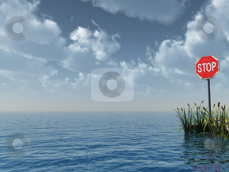Stop stock photo, Water landscape with stop sign - 3d illustration by J?