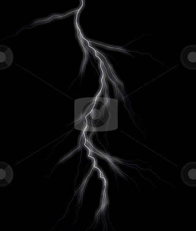 Lightning stock photo, Lightning on dark background illustration by J?