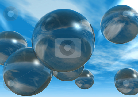Bubbles stock photo, Glass balls fly at the sky - 3d illustration by J?