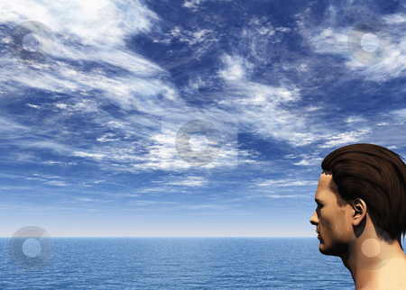 View stock photo, Man in water landscape - 3d illustration by J?