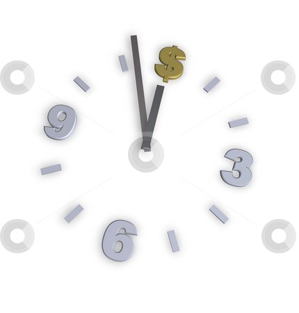 Time is money stock photo, Dollar clock on white background - 3d illustration by J?