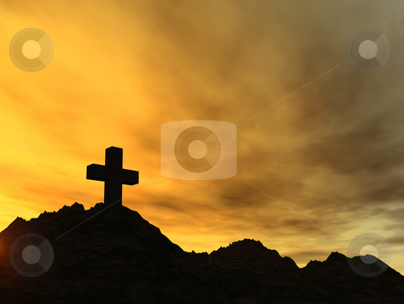 Landmark stock photo, Holy cross in the sunset - 3d illustration by J?