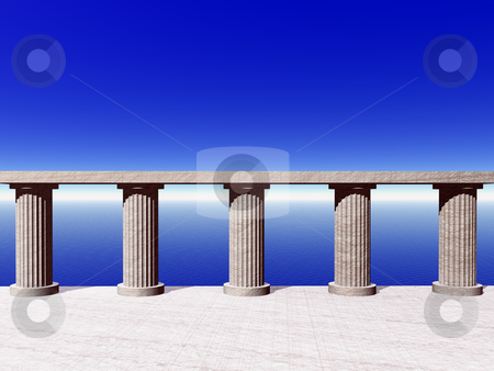 Pillars stock photo, Old pillars at the ocean - 3d illustration by J?
