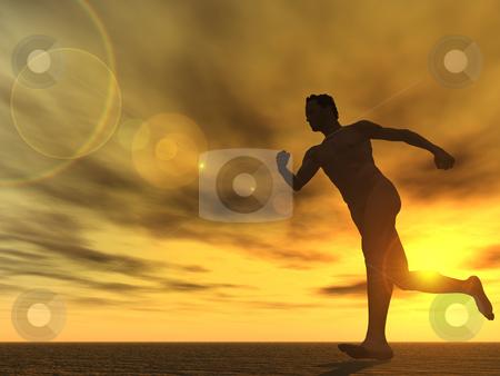 Run stock photo, Runner in the sunset - 3d illustration by J?
