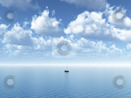 Sailing stock photo, Sailing boat at the ocean - 3d illustration by J?