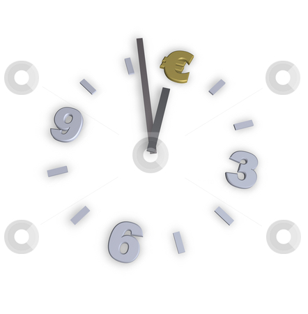 Euro clock stock photo, Euro clock on white background - 3d illustration by J?