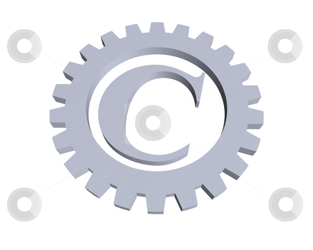 Copyright stock photo, Copyright symbol in gear wheel - 3d illustration by J?
