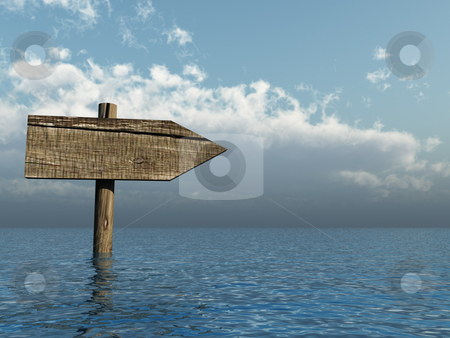 Wooden sign stock photo, Wooden sign in water - 3d illustration by J?