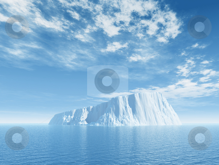 Ice stock photo, Iceberg against blue cloudy sky - 3d illustration by J?