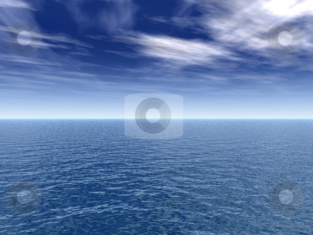 Water landscape stock photo, Water landscape with cloudy sky - 3d illustration by J?