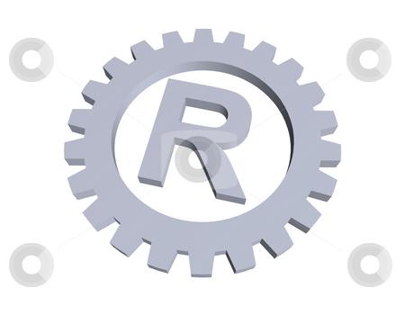 Trademark stock photo, Registered trade mark symbol in gear wheel - 3d illustration by J?