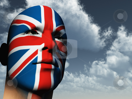 Patriot stock photo, Man face painted with union jack - 3d illustration by J?