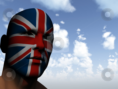 Fan stock photo, Man face painted with union jack - 3d illustration by J?