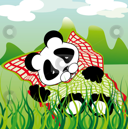 Sleeping panda stock vector clipart, Sleeping panda outdoors under a cloudy sky by Karin Claus