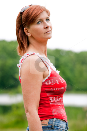 Moms portrait stock photo, Beatifull woman with a red shirt by Frenk and Danielle Kaufmann