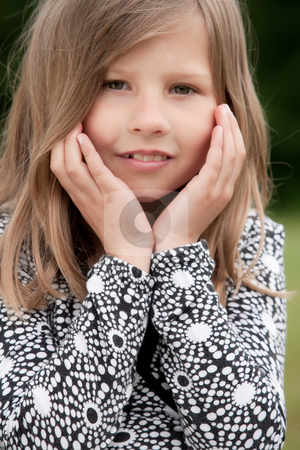 Sweet little girl stock photo, Young talented girl is posing like a little model by Frenk and Danielle Kaufmann