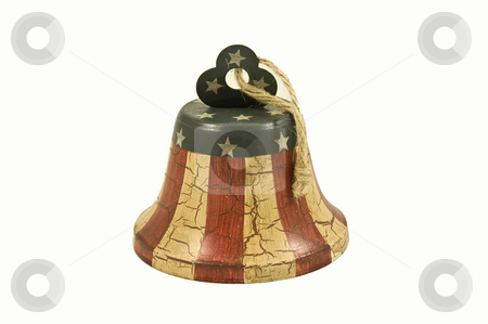 American Flag Bell stock photo, Vintage bell with the design of the American Flag. by Kelly Everill