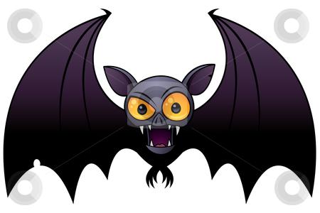 Halloween Vampire Bat stock vector clipart, Vector cartoon illustration of a Halloween Vampire Bat with big orange eyes. by John Schwegel