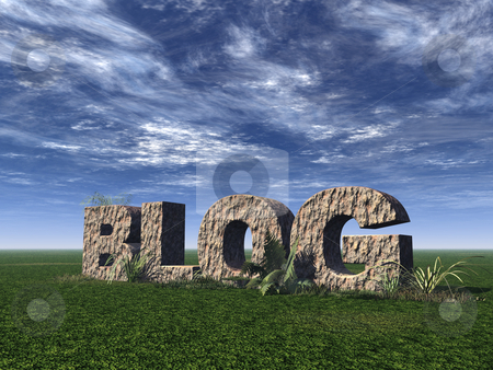 Blog stock photo, Blog rock on green field - 3d illustration by J?
