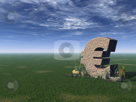Euro sign stock photo, Euro sign on a green field - 3d illustration by J?