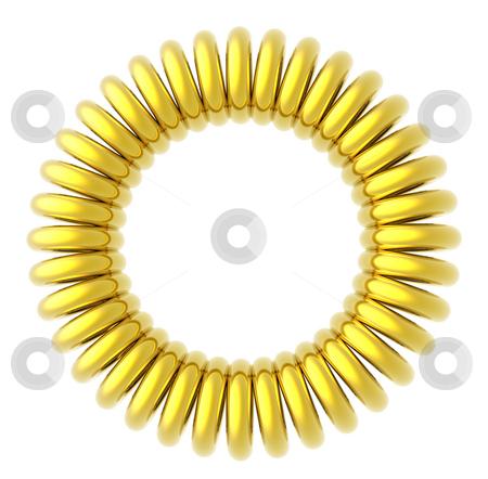 Golden rings stock photo, Golden circle on white background - 3d illustration by J?