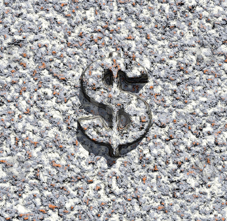 Dollar sign stock photo, Stone texture with dollar sign - 3d illustration by J?