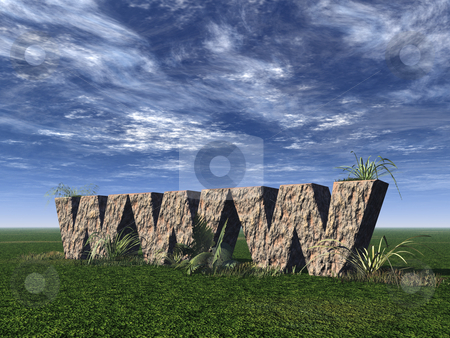Www rocks stock photo, Www rock on a green field - 3d illustration by J?